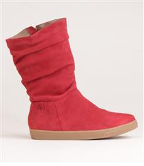 FROGGIE RED SUEDE LEATHER RUCHED FLAT MIDI-BOOT