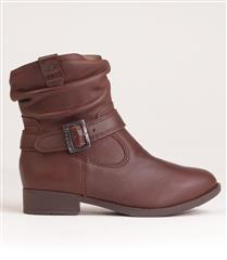 FROGGIE NUT LEATHER RUCHED BUCKLE BOOT