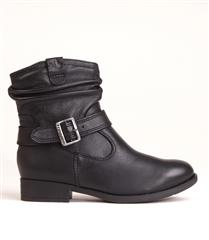 FROGGIE BLACK LEATHER RUCHED BUCKLE BOOT