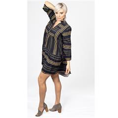 MADE IN ITALY YELLOW MULTI MINI TRAPEZE VISCOSE DRESS