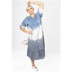 MADE IN ITALY BLUE TIE DYE VISCOSE COLLARED DRESS