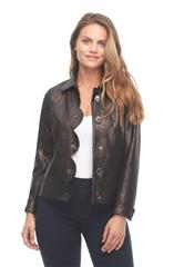 FRENCH DRESSING JEANS BROWN SCALLOP FRONT JACKET