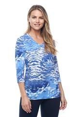 FRENCH DRESSING JEANS TANZANITE BLUE ABSTRACT ANIMAL PRINT TOP