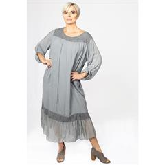 MADE IN ITALY GREY TRAPEZE SILKY DRESS