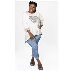 MADE IN ITALY GREY COTTON HEART OVERSIZED TOP