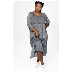 MADE IN ITALY GREY TIERED SILKY DRESS