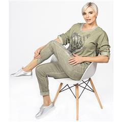 MADE IN ITALY OLIVE SEQUIN FOIL PRINT TOP