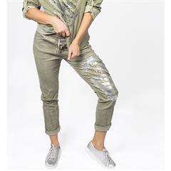 MADE IN ITALY OLIVE SEQUIN FOIL PRINT PANTS