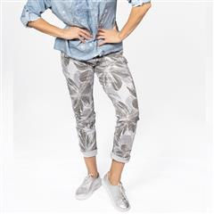 MADE IN ITALY GREY EMBELLISHED FLOWER PANTS