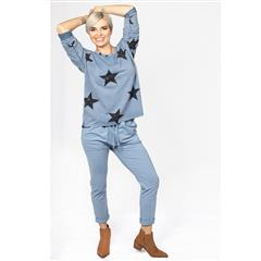 MADE IN ITALY BLUE COTTON STAR PRINT TOP