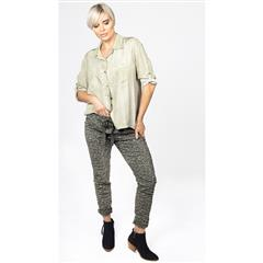 MADE IN ITALY OLIVE GLITTER PRINT PANTS