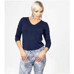 MADE IN ITALY NAVY SOFT KNIT TOP