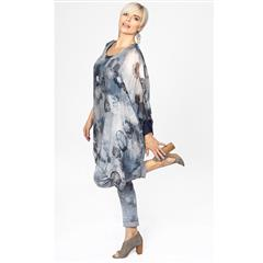 MADE IN ITALY BLUE GREY ROSE SILKY TUNIC BLOUSE