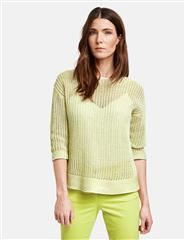 GERRY WEBER LIME TWO-TONE KNIT JUMPER