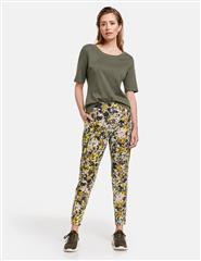 GERRY WEBER FLORAL ELASTICATED TROUSERS ZIP DETAIL