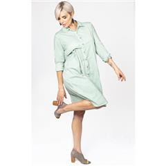 MADE IN ITALY TURQUOISE COTTON SPREAD COLLAR SHIRT DRESS