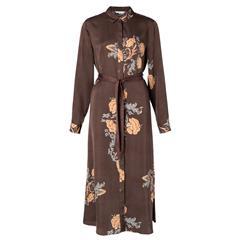 YAYA CHOCOLATE MAXI SHIRT DRESS