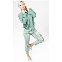 MADE IN ITALY MINT SEQUIN FOIL PRINT PANTS