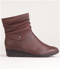 FROGGIE NUT LEATHER RUCHED ANKLE BOOT