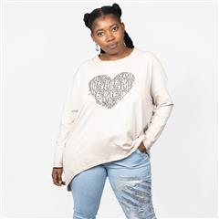 MADE IN ITALY NUDE COTTON HEART OVERSIZED TOP
