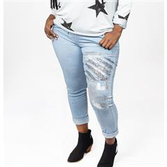 MADE IN ITALY BLUE SEQUIN FOIL PRINT PANTS