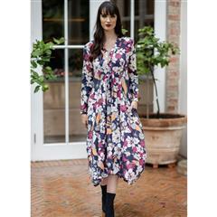 MASTIK NAVY FLOWER PRINT DRESS