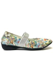 SAKURA FLORAL SHIMMER LEATHER SHOES WITH DIAMANTE STRAP