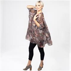 MADE IN ITALY BROWN MULTI PAISLEY SILKY TUNIC BLOUSE