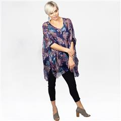 MADE IN ITALY PURPLE MULTI PAISLEY SILKY TUNIC BLOUSE
