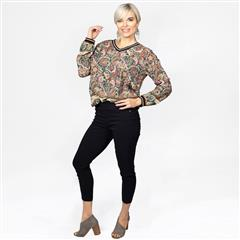 MADE IN ITALY GREEN PAISLEY RIB KNIT TOP