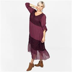 MADE IN ITALY MAROON TIERED SILKY DRESS
