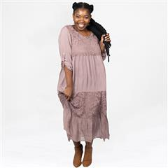 MADE IN ITALY DIRTY PINK TIERED SILKY DRESS