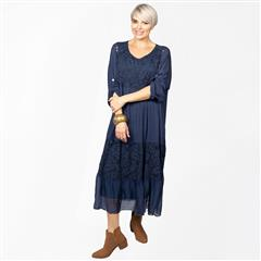 MADE IN ITALY NAVY TIERED SILKY DRESS