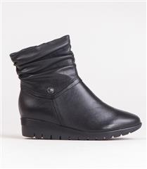 FROGGIE BLACK LEATHER RUCHED ANKLE BOOT