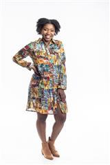 JOLIE ANNIE CANVAS PRINT LINEN SHIRT DRESS