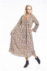 JOLIE BROWN FLOWER PRINT ELAINE DRESS