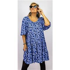 CALYPSO BLUE LEOPARD MIDI TIER DRESS