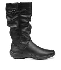 HOTTER BLACK LEATHER DERRYMORE BOOTS