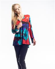 JOLIE RED TURQUOISE YVONNE BLOUSE