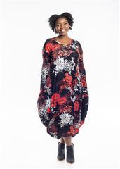 JOLIE RED BLACK FLOWER PAULINA DRESS