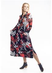 JOLIE BLACK RED FLOWER LAUREN SHIRT DRESS