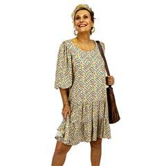 CALYPSO GEOMETRIC VISCOSE TIER DRESS