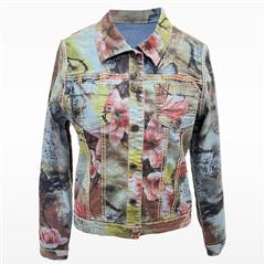 MADE IN ITALY DENIM GREEN FLORAL REVERSIBLE JACKET