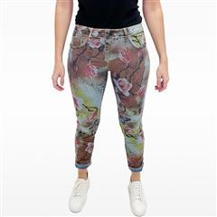 MADE IN ITALY DENIM GREEN FLORAL REVERSIBLE JEANS