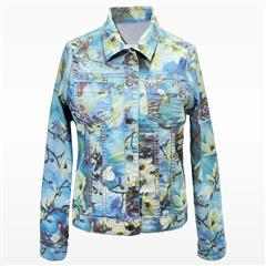 MADE IN ITALY TURQUOISE FLOWER REVERSIBLE JACKET