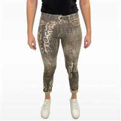 MADE IN ITALY SNAKE PRINT REVERSIBLE JEANS