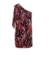 JOLIE BAM BAM RED BLACK PRINT OFF SHOULDER SHORT DRESS