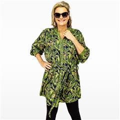 CALYPSO JUNGLE MANDARIN COLLAR BUTTON THROUGH DRESS