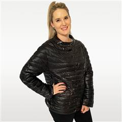 MADE IN ITALY BLACK REVERSIBLE JEWEL NECK JACKET
