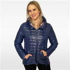 MADE IN ITALY NAVY SHORT REVERSIBLE HOODED PUFFER JACKET